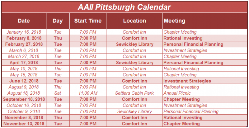 Pittsburgh Chapter Meeting Calendar